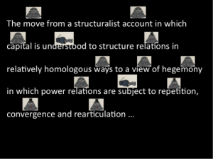 The move from a structuralist account in which capital is understood to structure relations in relatively homologous ways to a view of hegemony in which power relations are subject to repetition, convergence and rearticulation...